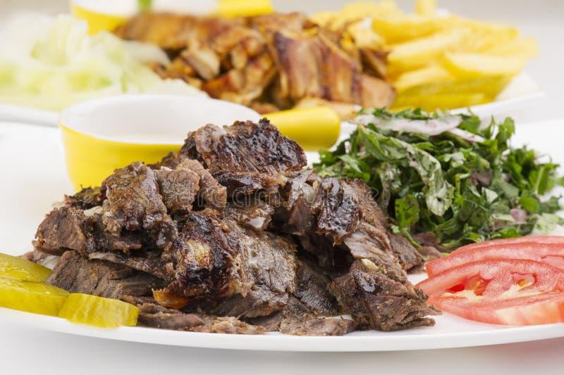 Shawarma Plate , Shawarma beef and chicken plate stock photography