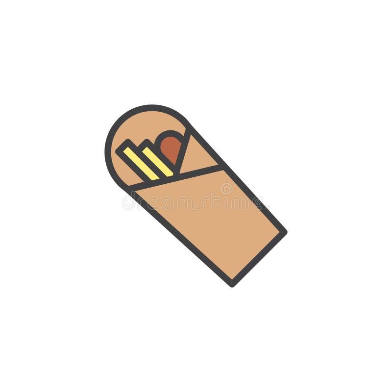Shawarma wypełniał kontur ikonę ilustracja wektor