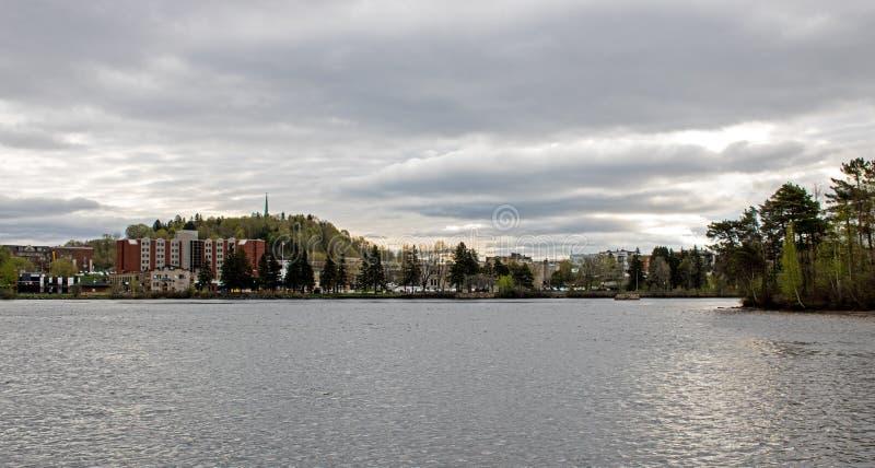 Shawinigan, Квебек, Канада и река Мориса Святого стоковое изображение rf