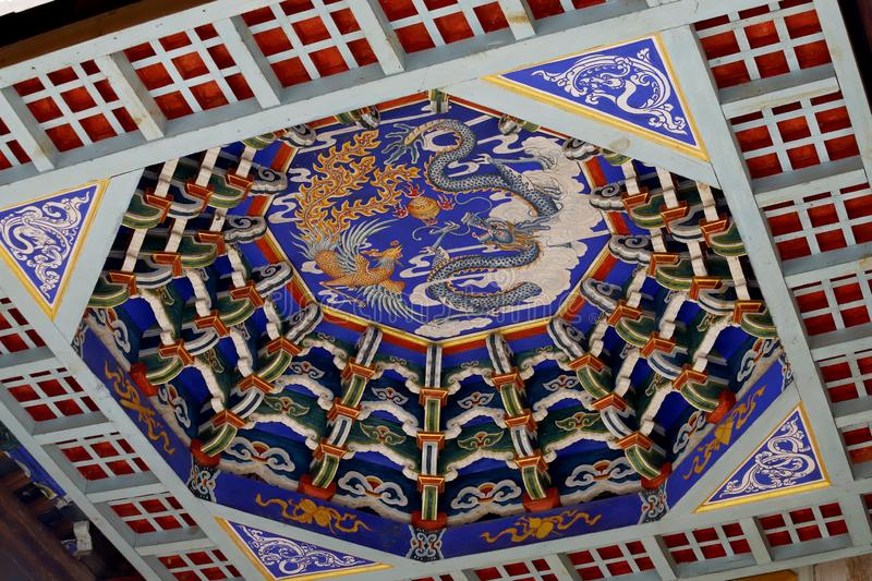 The decorated ceiling of the temple of the village of Shaxi. This town is probably the most intact horse caravan town on the Ancie. Shaxi, Yunnan, China stock images