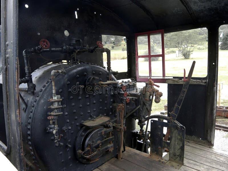 Shay Engine Cab am Eisenbahn-Museum stockbilder