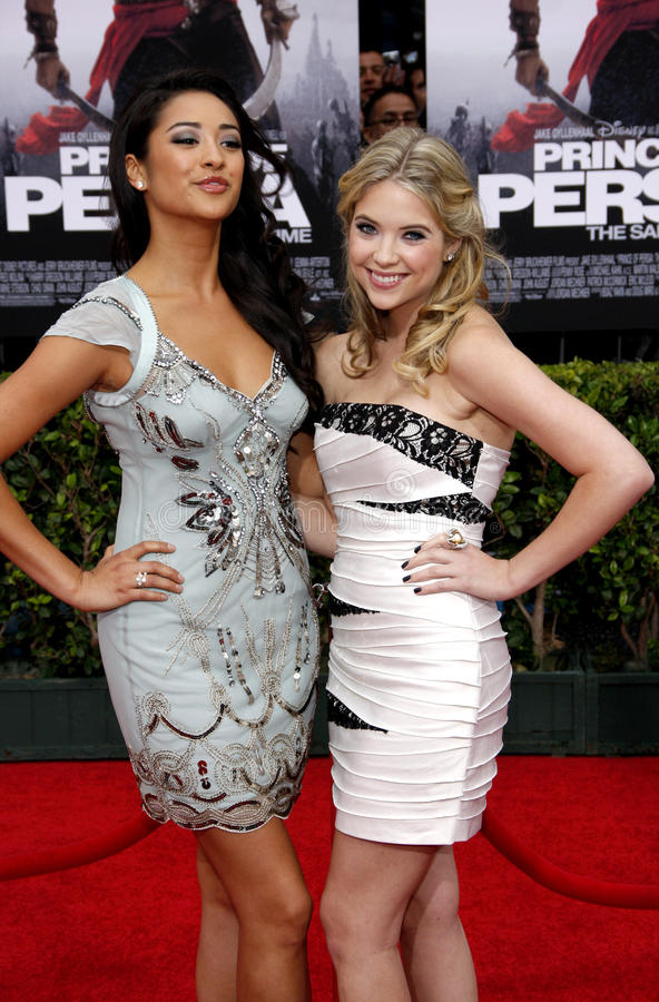Shay Mitchell and Ashley Benson. At the Los Angeles Premiere of `Prince Of Persia: The Sands Of Time` in Hollywood, California, United States on May 17, 2010 royalty free stock photo