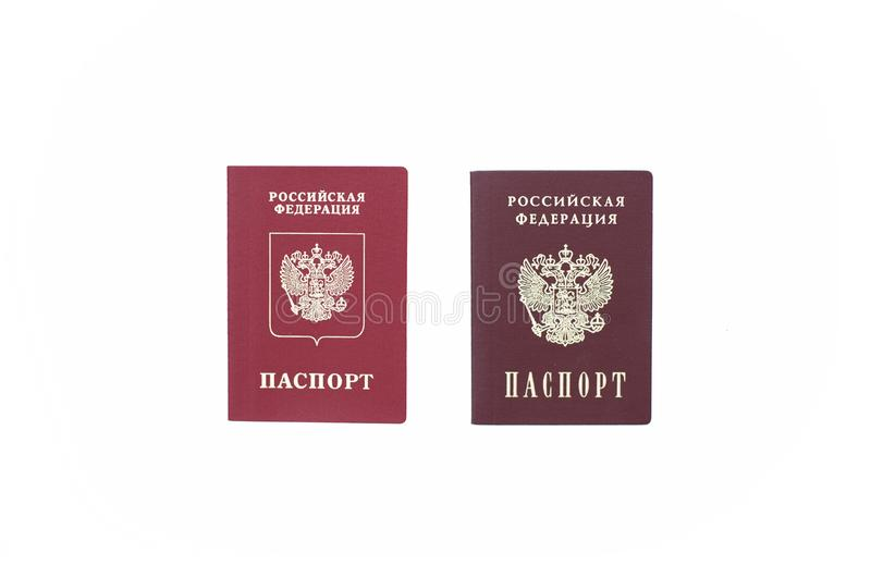 Shchelkovo, Russian Federation - Mar 09, 2019: Two passports- foreign passport and a national passport of the Russian Federation royalty free stock photography