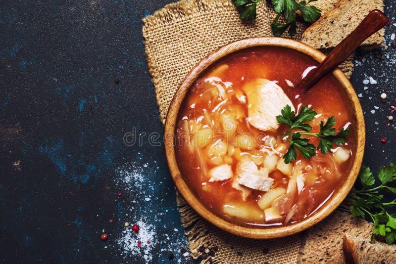 Shchi - Soep van Zuurkool, Vlees en Tomaat, Zwarte Achtergrond, royalty-vrije stock fotografie