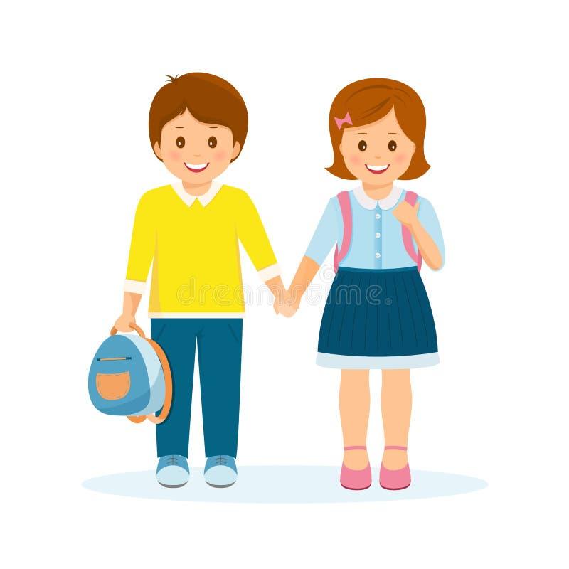 Shcoolchildren-jongen en meisje vector illustratie