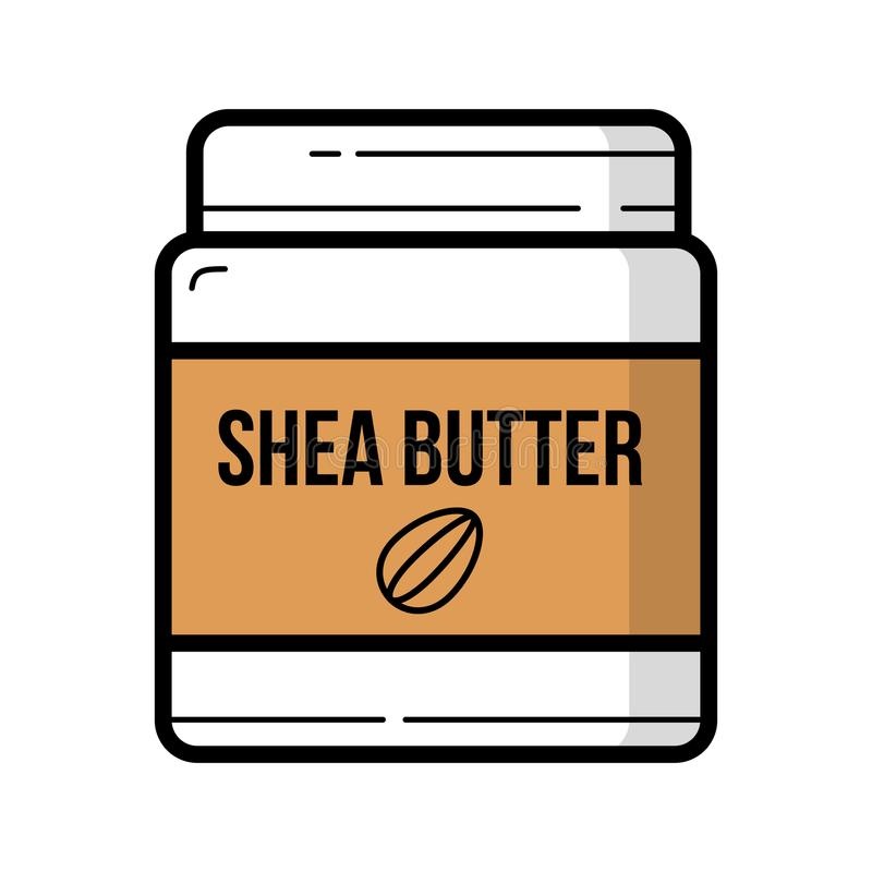 Shea butter jar with nuts logo background isolated vector illustration