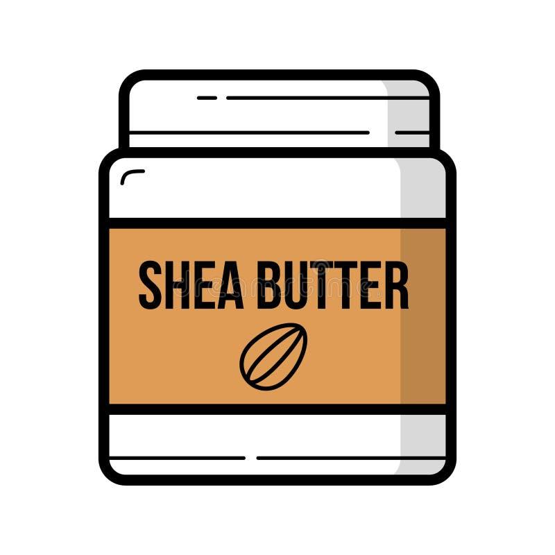 Shea-Butterglas mit dem nuts Logohintergrund lokalisiert vektor abbildung