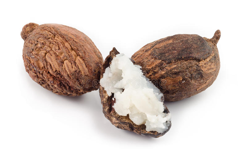 Shea nuts and butter stock image