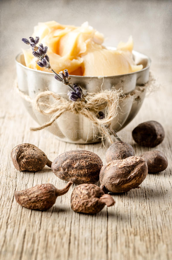 Shea nuts and butter. Shea nuts with a cup of shea butter. Shallow depht of field stock images