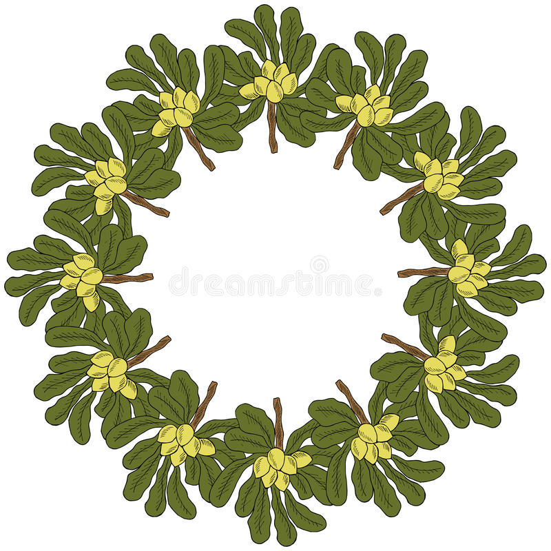 Shea tree, liner, in color, round frame 1 vector illustration