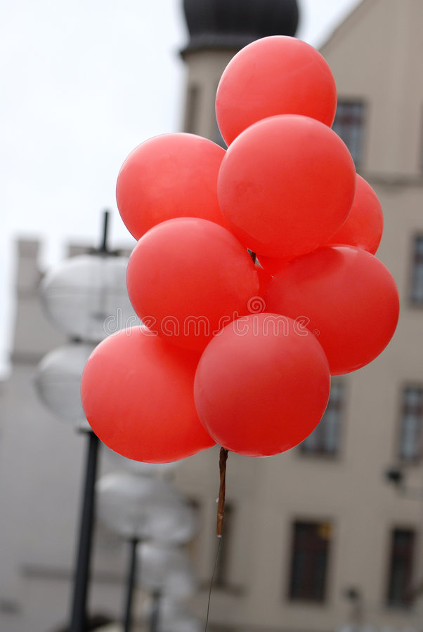 Sheaf of red balloons. With helium stock photography