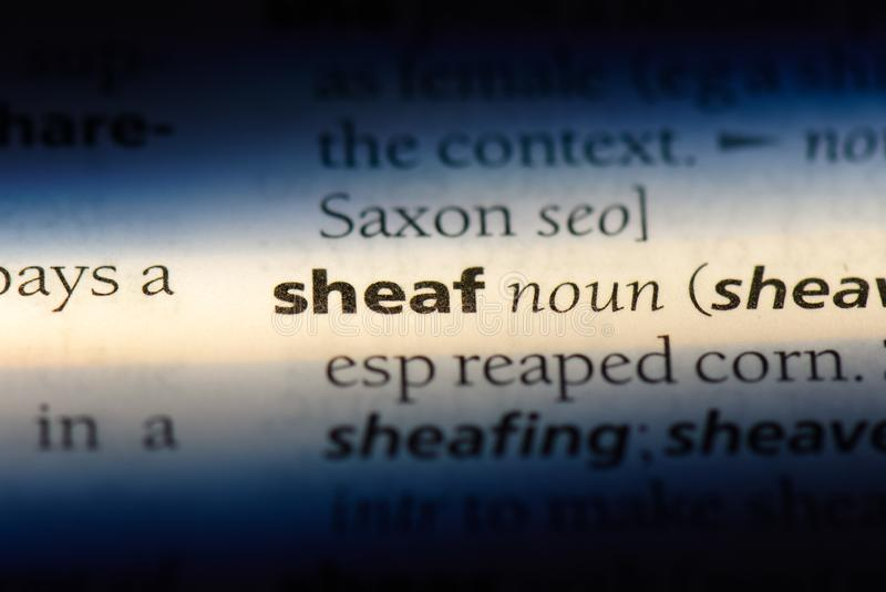 Sheaf. Word in a dictionary.  concept royalty free stock images