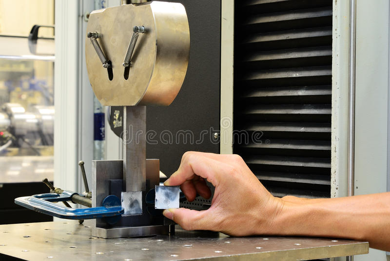 Shear stress specimen after test. On testing machine royalty free stock images