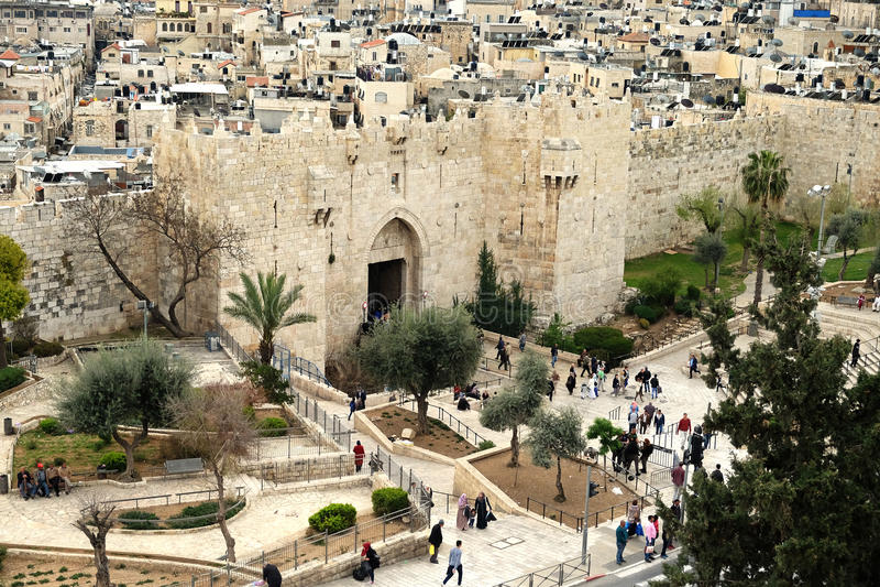 Shechem大马士革门在耶路撒冷 免版税库存图片