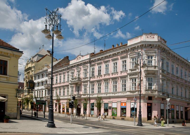 Shechenyi ulica w Miskolc obraz stock