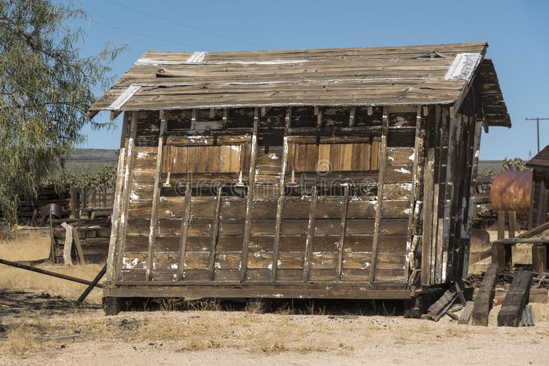 Shed at Cima Station Mojave Preserve. Cima is a small unincorporated community in the Mojave Desert of San Bernardino County, California, in the United States royalty free stock photos