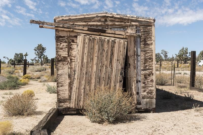 Shed at Cima Station Mojave Preserve. Cima is a small unincorporated community in the Mojave Desert of San Bernardino County, California, in the United States royalty free stock photo