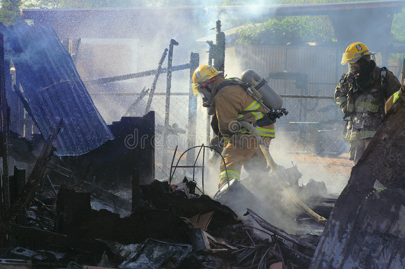 Shed fire 2 aftermath stock image