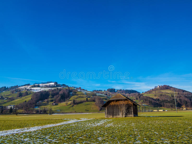 Download Shed in a green field stock image. Image of trees, lanscape - 38794123