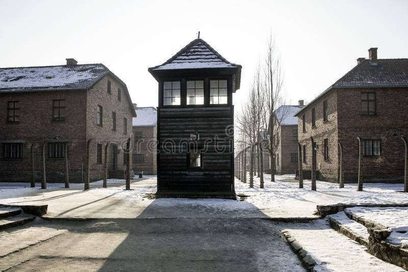 Shed guard in Auschwitz. Museum Auschwitz - Birkenau, holocaust museum. Anniversary Concentration Camp Liberation. Barbed wire royalty free stock image