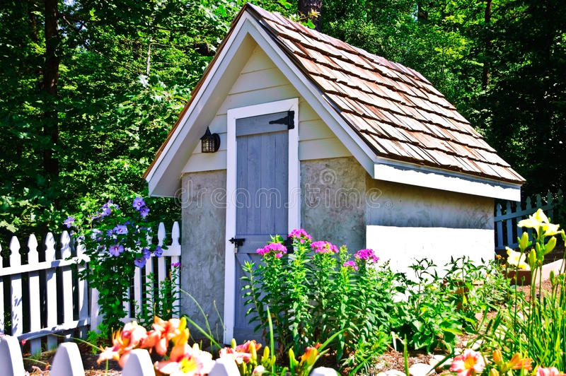 Download Shed in a Small Garden stock photo. Image of flowers - 14856524
