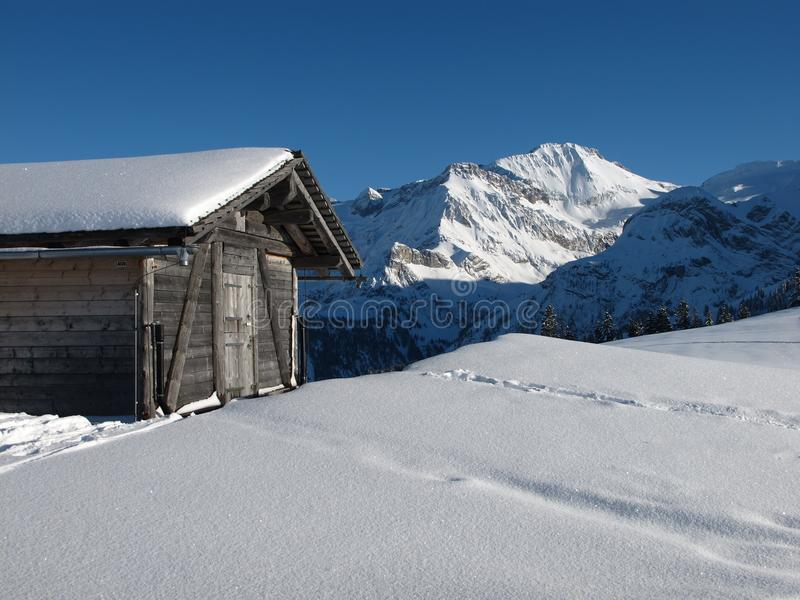 Download Shed And Wildstrubel In The Winter Stock Image - Image: 29473137