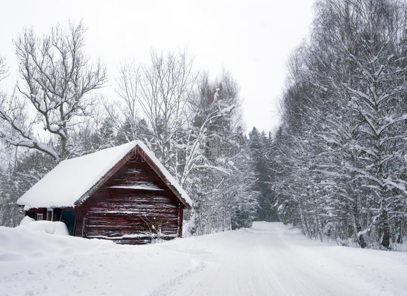 Shed in winter royalty free stock images