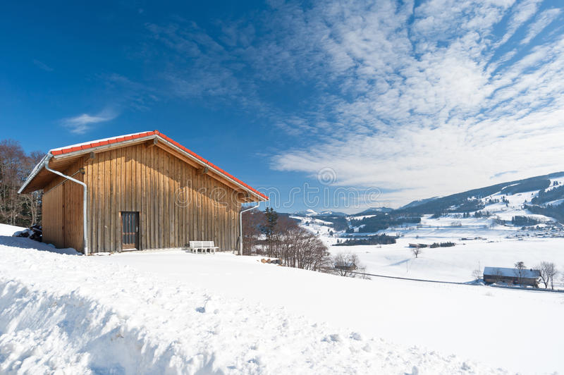 Shed in the winter stock image