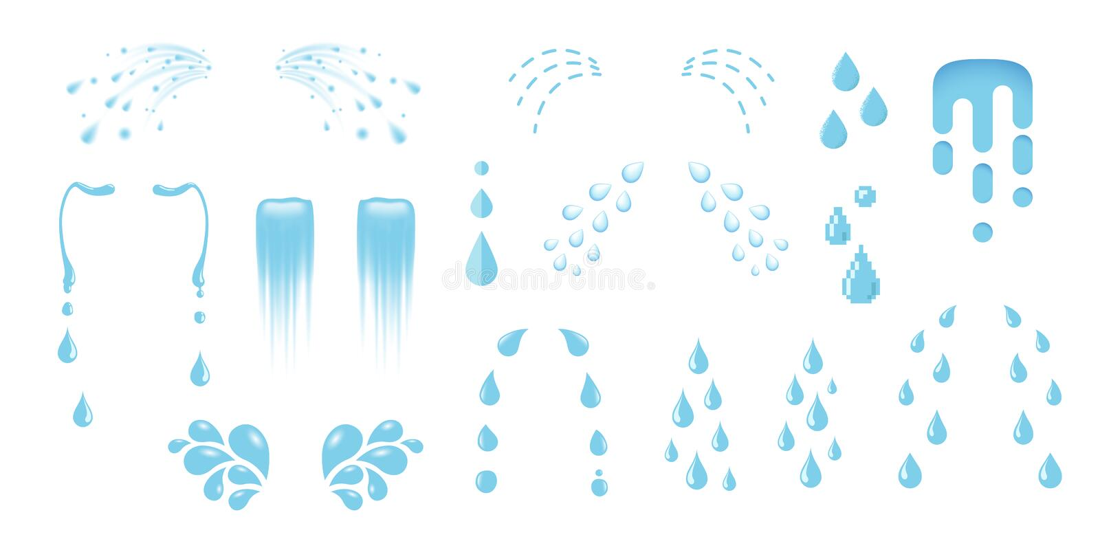 Shedding tears, tear streams, tears drops flows, crying, weeping, sobbing or mourning vector illustrations in various styles royalty free stock photo
