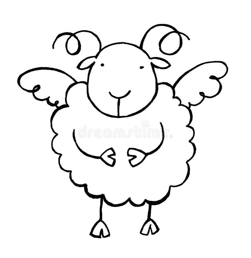 Sheep 02 b/w stock illustration
