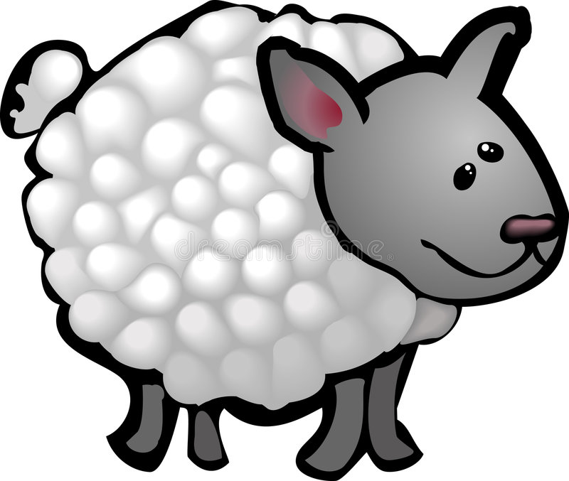 Sheep. A cute sheep in a rough and ready style! No meshes used, all blends or gradients stock illustration