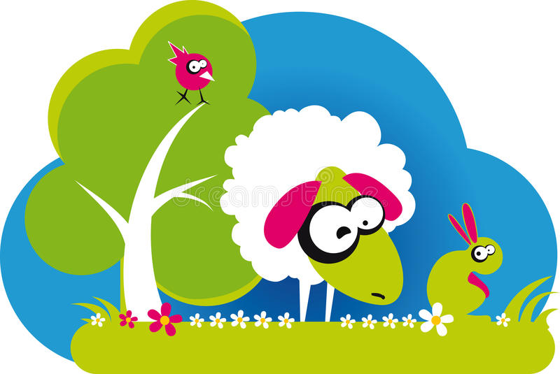 Sheep. With bird and rabbit with flowers on white background, vector vector illustration