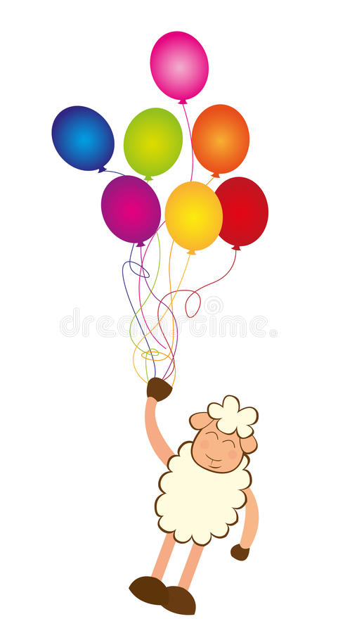 Sheep and balloons vector illustration