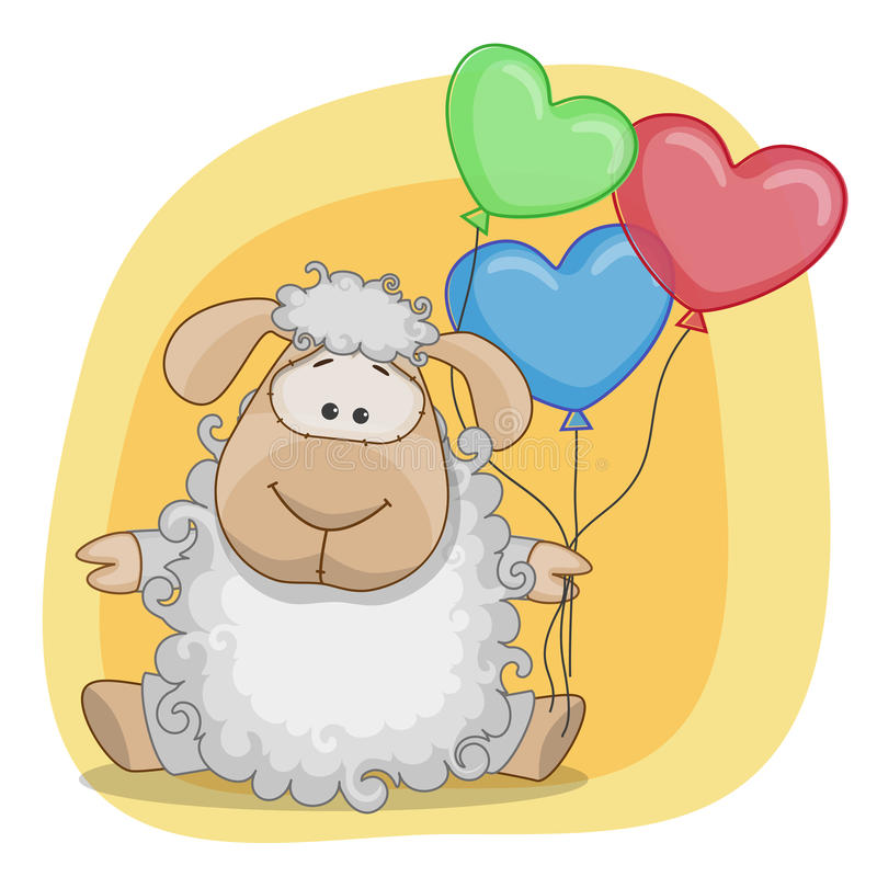 Sheep with balloons stock illustration
