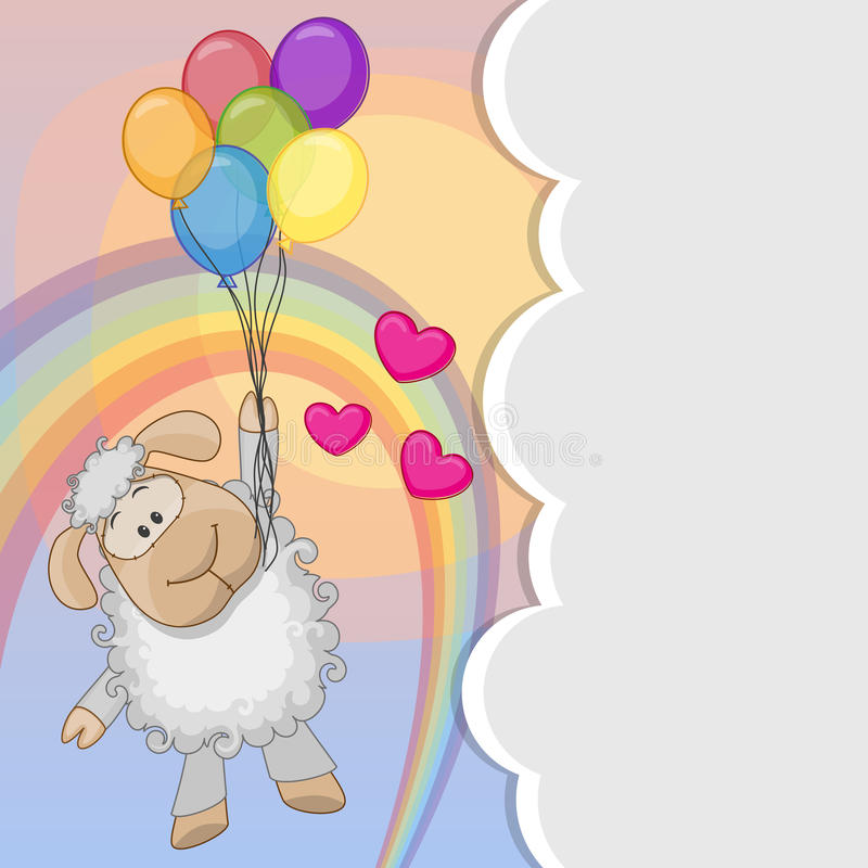 Sheep with balloons. Greeting card Cute Sheep is flying on balloons royalty free illustration