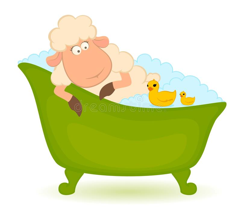 Download Sheep in bath stock vector. Image of emotion, clean, nature - 16260456