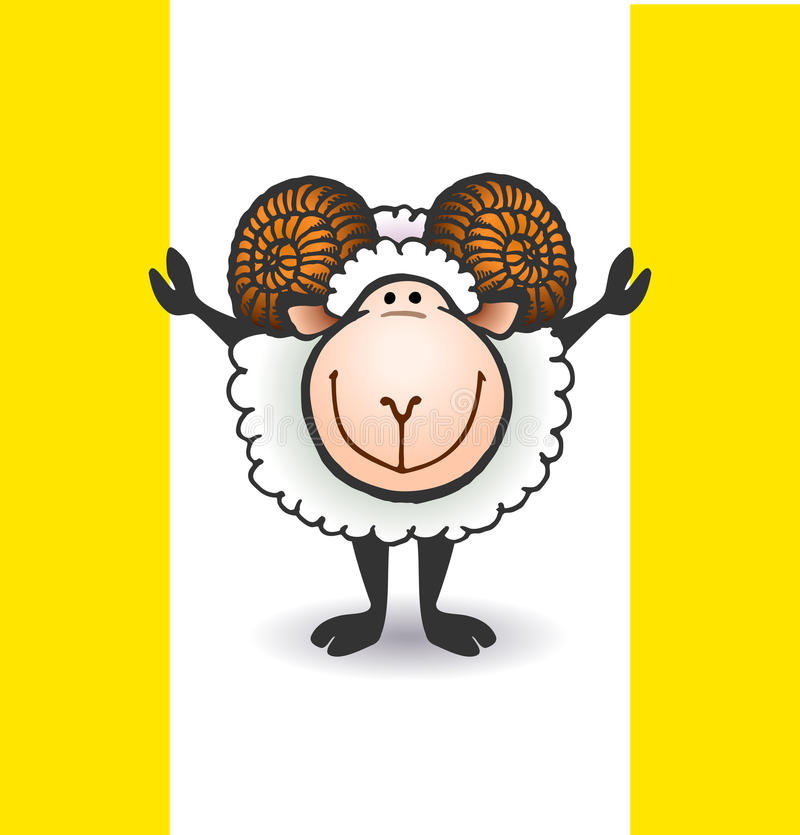 Sheep with big horns stock illustration