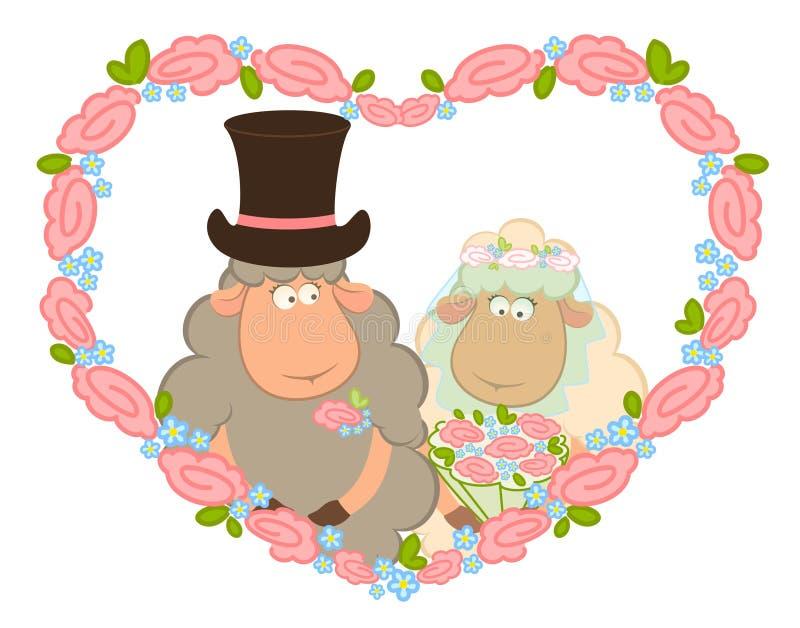 Sheep bridegroom and bride vector illustration