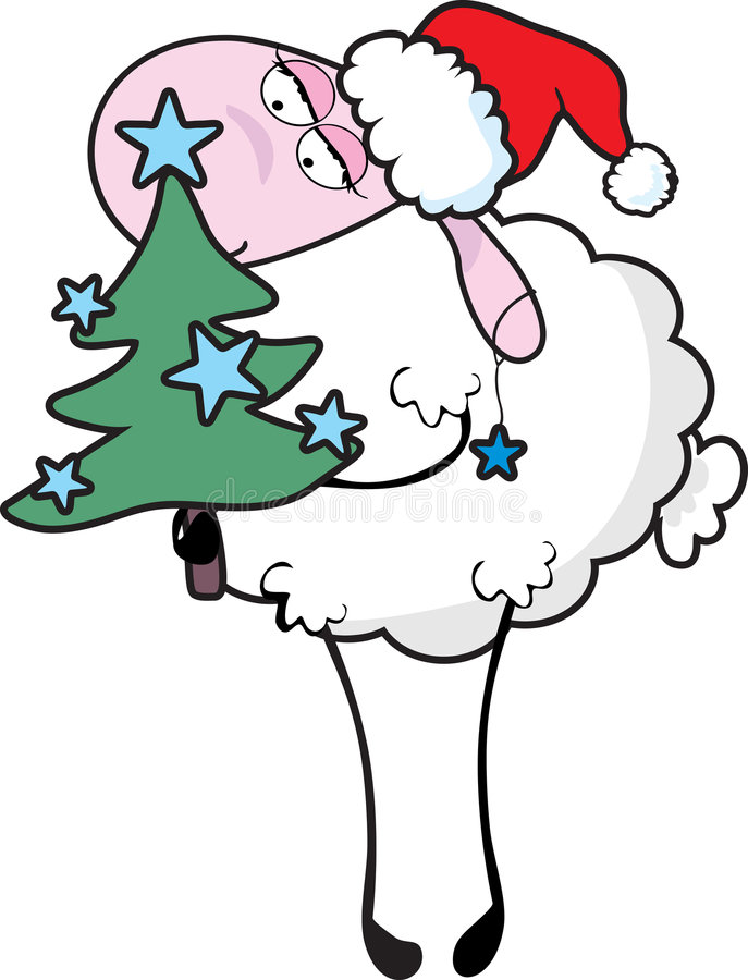 Sheep with christmas tree vector illustration
