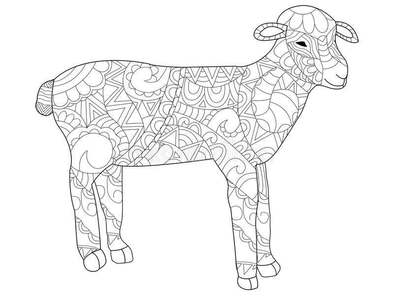 Sheep Coloring Vector For Adults Stock Vector - Illustration of ...