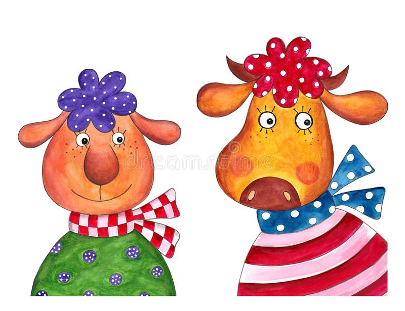 Download Sheep And Cow. Cartoon Characters Stock Illustration - Illustration of happy, pets: 25687039