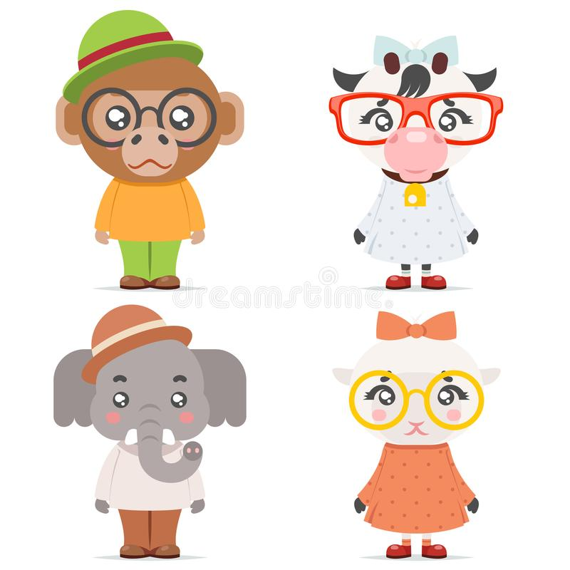 Sheep cow monkey ape elephant cute animal boy girl cubs mascot cartoon icons set flat design vector illustration. Sheep cow monkey ape elephant cute animal girl vector illustration