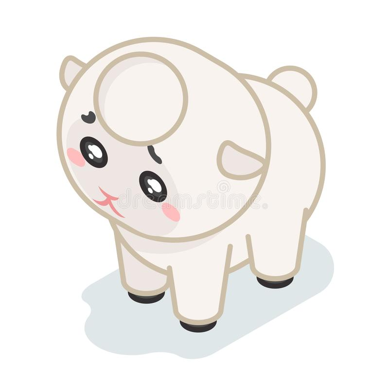 Sheep cub isometric 3d cute beef baby animal cartoon flat design icon character vector illustration stock illustration
