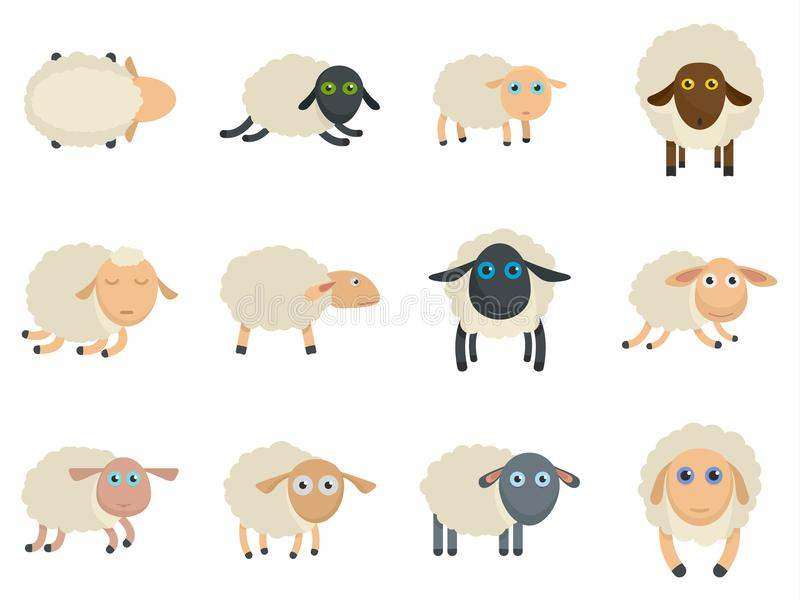 Sheep cute lamb farm iicons set vector isolated. Sheep cute lamb farm icons set. Flat illustration of 12 sheep cute lamb farm vector icons isolated on white royalty free illustration
