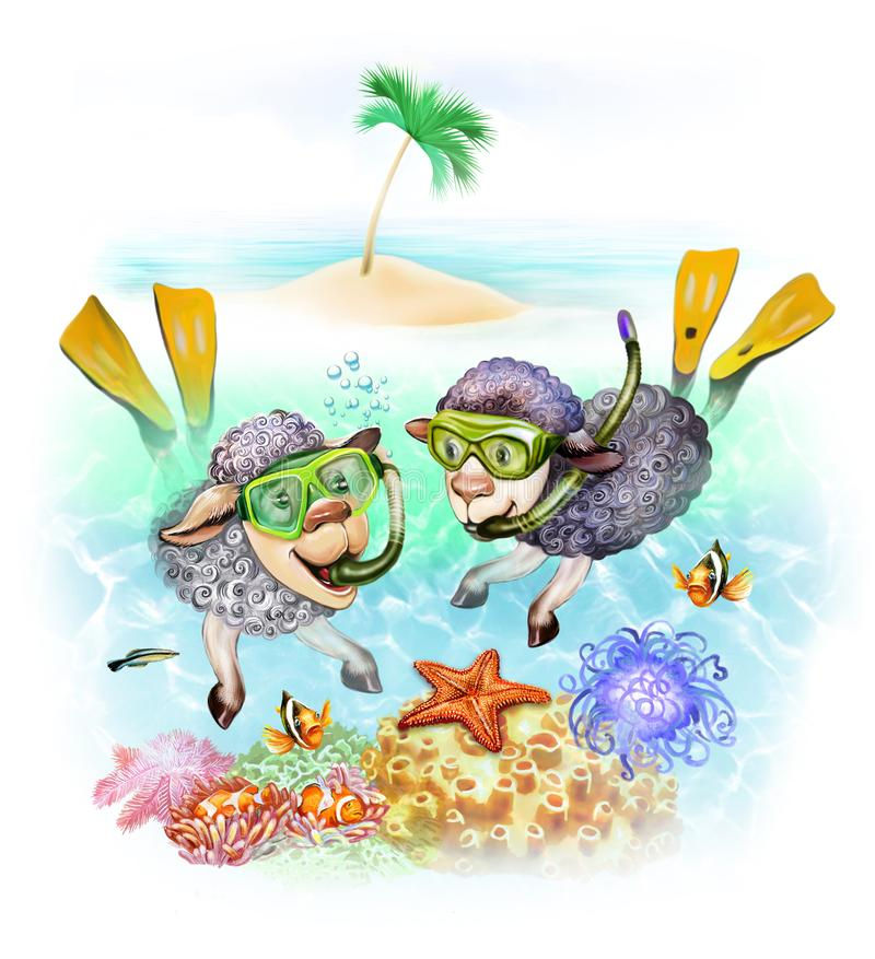 Sheep are diving stock illustration