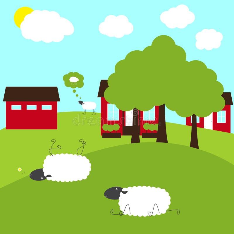 Sheep on fancy farm royalty free illustration