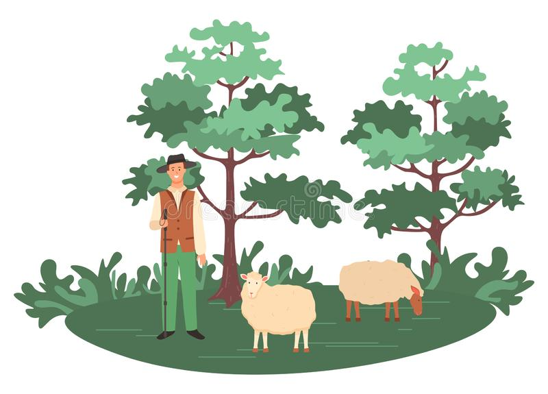 Sheep Farming Man, Shepherd with Herd on Nature. Man with sheep vector, person farming in forest caring for animals. Herd with shepherd looking after lambs vector illustration
