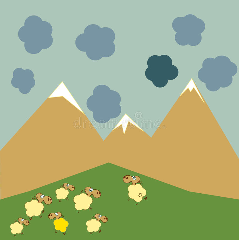 Sheep. A flock of sheep grazing in the mountains. One stands out from the herd of sheep and live their lives vector illustration
