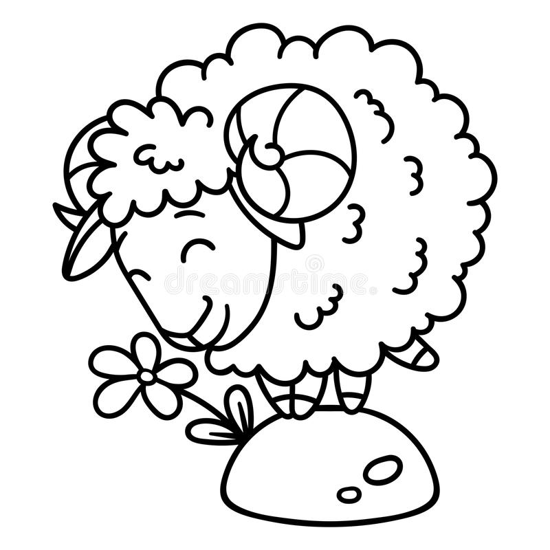 Sheep with a flower. Isolated objects on white background. Vector illustration. Coloring pages. Black and white illustration. Sheep with a flower. Isolated royalty free illustration