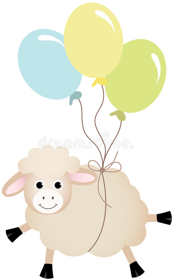 Sheep flying with balloons stock illustration